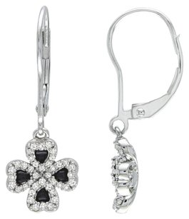 Other 14k White Gold Diamond Nature Flower 4-leaf Clover Lucky Leverback Earring