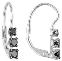 Other Sterling Silver Black Diamond 3- Stone Drop Leverback Earrings 0.5 Cttw