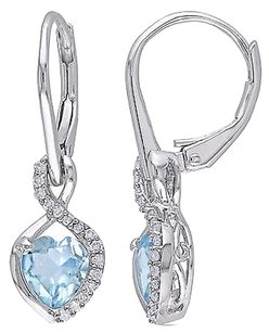 Sterling Silver 16 Ct Diamond And Sky Blue Topaz Leverback Earrings Gh I2i3