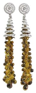 Other 18kt Diamond Brolettes Yellow Sapphire White Gold Drop Earrings 3 5.48ct