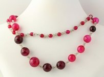 Dyed Agate Chalcedony Strand Necklace - 925 Sterling Silver Accents