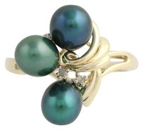Other Dyed Cultured Pearl Diamond Cocktail Ring- 10k Yellow White Gold Fine .02ctw