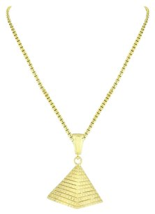 Other Egyptian Pyramid Pendant 18k Yellow Gold Plating Box Necklace Chain Charm