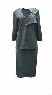Other Elana Green Grey Knit Bow Accent Jacket Skirt Set 1x 100467e