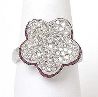 Elegant 14k White Gold 3ctw Diamond Rubies Floral Design Ladies Cocktail Ring