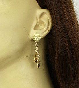 Other Elegant 14k Yellow Gold Diamond Strand Coin Style Drop Dangle Earrings