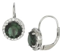 Other Elegant Handcrafted Sterling Silver 3 Carat Emerald Leverback Earrings