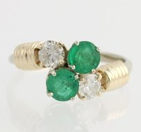 Emerald Diamond Bypass Ring- 14k Yellow White Gold Cocktail Birthstone 1.68ctw