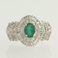 Emerald Diamond Cocktail Ring - 14k Yellow White Gold Baguette Cut 3.50ctw