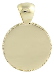 Engravable Round Pendant - 10k Yellow Gold Polished Coin Style Medallion 37mm