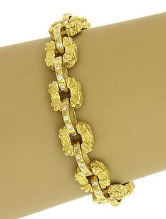 Estate 1.20ct Diamonds Engraved Floral Link Bracelet In 18k Yellow Gold