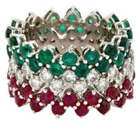 Estate 14k Gold 11ct. Diamonds Emerald Rubies Set Of Stack Band Rings-size