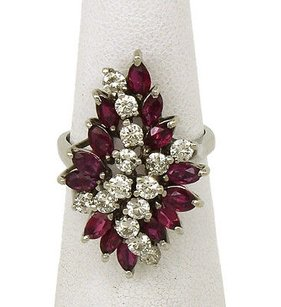 Estate 14k Gold 5.40ct Diamonds Rubies Ladies Dress Cocktail Ring