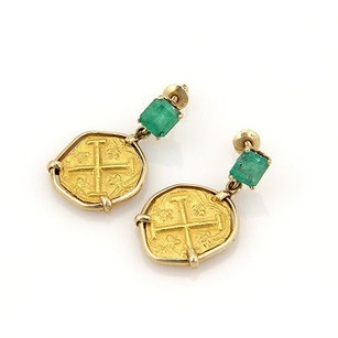 Estate 14k Gold Emerald Dangle Earrings Two 22k Gold Coins