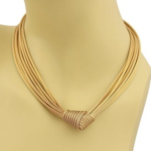 Estate 14k Gold Multi-strand Woven Chain Knot Pendant Necklace