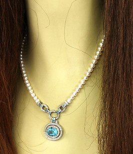 Estate 14k Wgold 11.50ctw Diamond Blue Topaz 6mm Freshwater Pearl Necklace