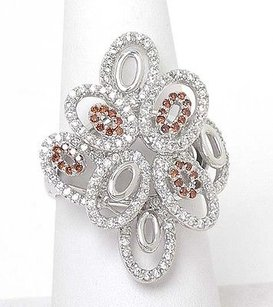 Other Estate 14k White Gold 1.78ctw Orange White Diamond Long Floral Design Ring