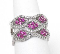 Estate 14k White Gold 1.80ctw Diamond Ruby Fancy Open Design Wave Ringband