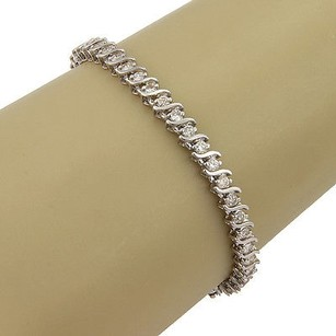 Other Estate 14k White Gold 3ct Diamond Link Tennis Bracelet