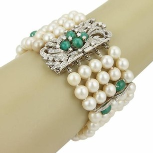 Other Estate 14k White Gold 8mm Pearls 9.55ct Diamond Emerald Strand Bracelet