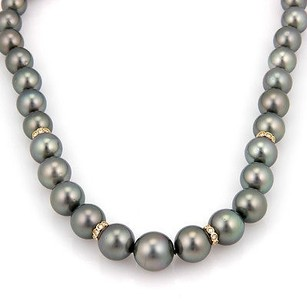 Estate 14k White Gold South Sea Tahitian Pearl Necklace With Diamonds 18.75