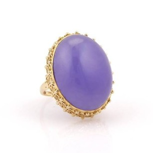 Other Estate 14k Yellow Gold 29mm Lavender Jade Solitaire Ring -