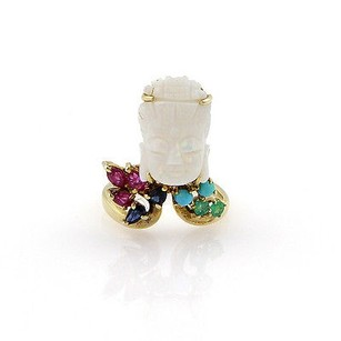 Estate 14k Yellow Gold Carved Opal Gem Ring -