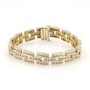 Estate 14k Yellow Gold Channel Set Carat Diamond Panther Style Link Bracelet