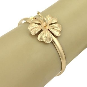 Estate 14k Yellow Gold Flower Hook Bangle Bracelet
