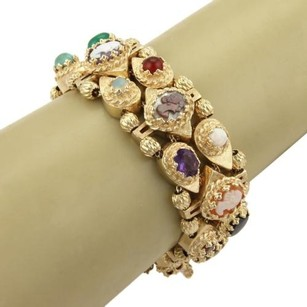 Estate 14k Yellow Gold Multi-gemstones Shell Cameo Slide Bracelet