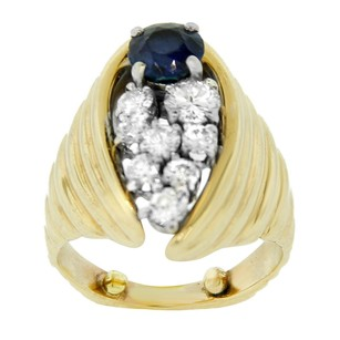 Other Estate 14k Yellow Gold With Round Diamonds And Sapphire Ring