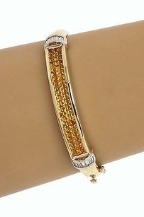 Estate 14kt Two Tone Gold 5.9ctw Diamond Yellow Sapphire Bangle Bracelet