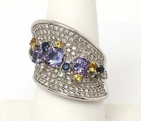 Estate 14kt White Gold 4ctw Diamond Tanzanite Sapphire Wide Contour Band Ring