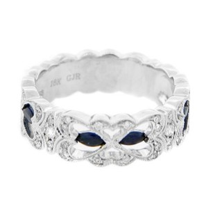 Other Estate 18k White Gold 0.30ct Blue Sapphire And Diamond Ring