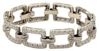 Estate 18k White Gold 2.25ct Pave Diamonds Square Filigree Link Bracelet