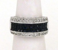 Estate 18k White Gold 3.30cts Diamond Sapphire Rind Band