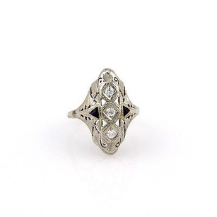 Estate 18k White Gold Art Deco Diamond Sapphire Filigree Ring -