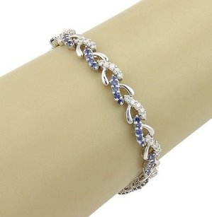 Estate 18k White Gold Diamond Sapphire Link Bracelet