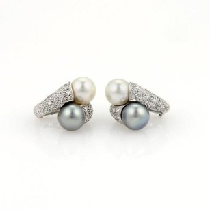 Other Estate 18k White Gold Diamonds Two Pearls Stud Earrings