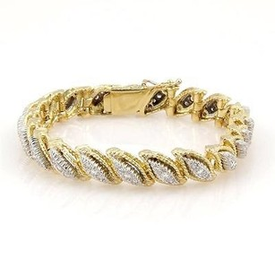 Estate 18k Yellow Gold 1.50ct Fancy Diamond Link Bracelet