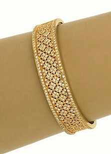 Estate 18k Yellow Gold 3ctw Diamond Fancy Mesh Design Ladies Braceletbangle