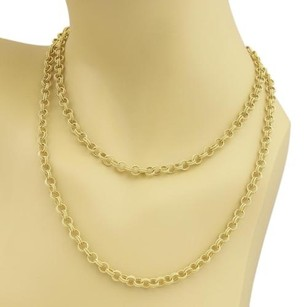 Estate 18k Yellow Gold Double Round Wire Link Chain Long Necklace 35
