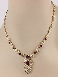 Estate 18k Yellow Gold Italian 8.5ct Ruby Diamond Fashion Necklace 16