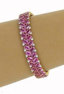 Other Estate 18k Ygold 61.12ctw Diamond Oval Pink Sapphire Tennis Bracelet