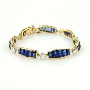 Other Estate 18k Ygold Platinum 17.70ct Diamonds Sapphire Curved Bar Link Bracelet