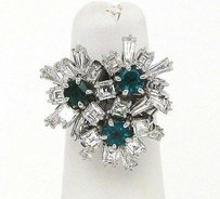 Estate 18kt White Gold 4.40ctw Diamond Emerald Floral Cocktail Ring