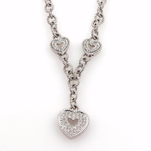 Estate 1ct Diamonds 14k White Gold Triple Heart Pendant Cable Chain Necklace