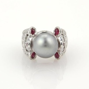 Estate 2.60ct Diamonds Ruby 12.5mm Grey Pearl 18k Wgold Cocktail Ring