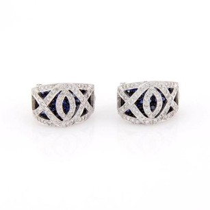 Estate 5.00ct Pave Diamond Blue Sapphires 18k White Gold Huggie Earrings