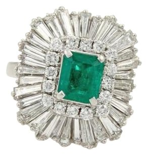 Other Estate 5.15ct Emerald Diamonds Platinum Convertible Ring Pendant